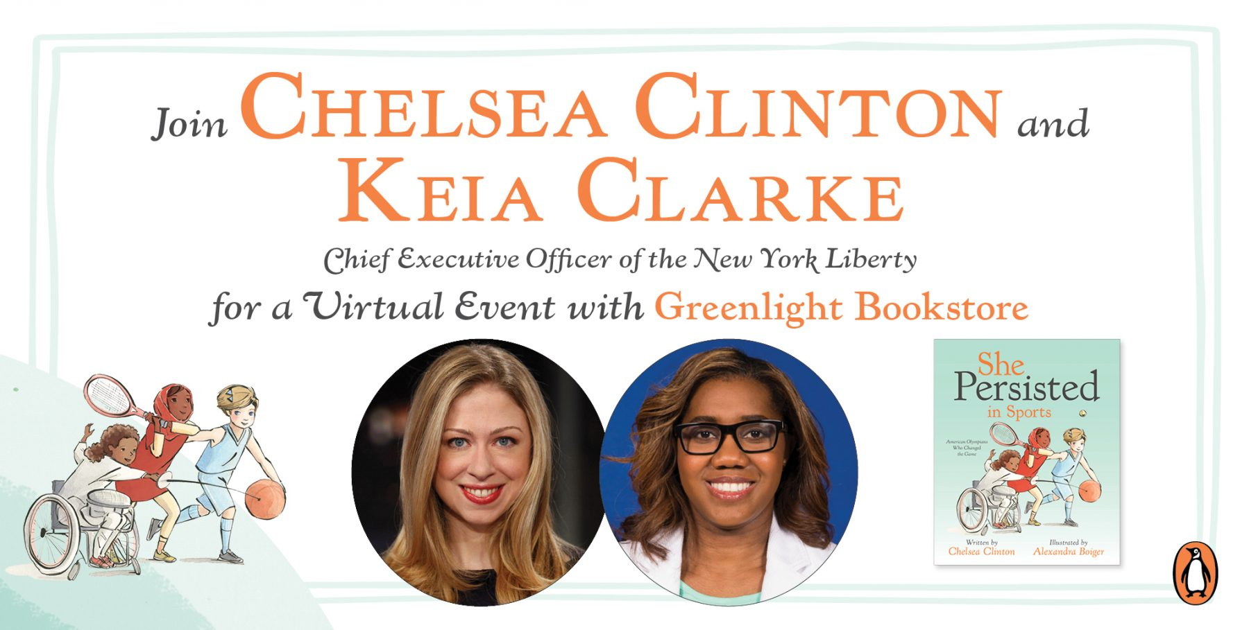 Greenlight Bookstore Presents A Virtual Story Time For Young Sports Fans With Chelsea Clinton!